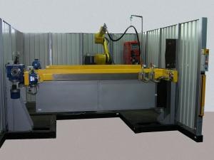 Робототехнический комплекс РК754 с двухпозиционным поворотным столом Гриль и вращателями изделий.
