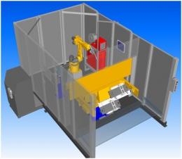 Модель робототехнического комплекса РК755 с двухпозиционным поворотным столом и вращателями изделий.